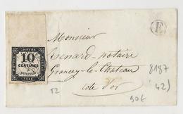 Taxe N°2 (10c Typo) Haut De Feuille Intégrale Obl CaD T15 Grancey Le Chateau Sur Devant De Lettre Avec Boîte Rurale E - Taxes