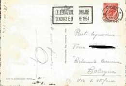 TIMBRO SU CARTOLINA CELEBRAZIONE COLOMBIANE GENOVA OTTOBRE 1954 - Timbri Generalità