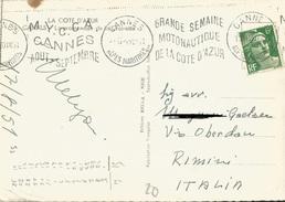 TIMBRO SU CARTOLINA MYCCA CANNES GRANDE SEMAINE MOTONAUTIQUE DE LA COTE D'AZUR 1951 - Timbri Generalità