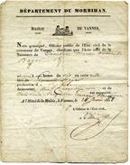Acte De Naissance De La Mairie De VANNES - 24 Janvier 1838 - Documents Historiques