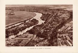 YVELINES, LA VALLEE DE LA SEINE A VILLENNES, Planche Densité = 200g, Format 20 X 29 Cm, (Cie Aérienne Française) - Géographie