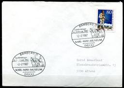 """Germany 1987 Sonderbeleg/Cover """"Indianer,Karl-May"""" M.Mi.Nr.1314 U.SST""""Bamberg-Karl-May Museum,Gedenktage""""1 Beleg"""