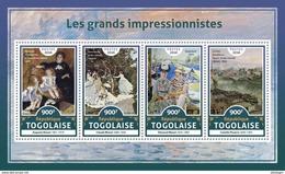 TOGO 2016 - Renoir, C. Monet, E. Manet, Pissarro. Official Issue.