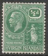 British Virgin Islands. 1922-28 KGV. ½d MH Mult Script CA. SG 86 - British Virgin Islands