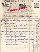 16 - BAIGNES SAINTE RADEGONDE- BELLE FACTURE RAYMOND COLLARDEAU- FORGE SERRURERIE- FORGERON- 1930 - France