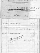 16 - BAIGNES SAINTE RADEGONDE- FACTURE  ANDRE MICHAUD- ENTREPRISE PEINTURE- VITRERIE- VOITURES - PEINTRE- 1935 - France