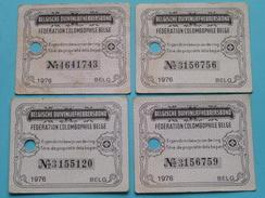 Belgische DUIVENLIEFHEBBERSBOND / COLOMBOPHILE Eigendomsbewijs Van De RING / BAGUE ( 4 Stuks / Zie Foto Voor Detail ) !! - Autres Collections
