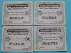 Belgische DUIVENLIEFHEBBERSBOND / COLOMBOPHILE Eigendomsbewijs Van De RING / BAGUE ( 4 Stuks / Zie Foto Voor Detail ) !! - Altri