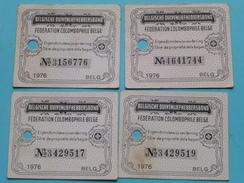 Belgische DUIVENLIEFHEBBERSBOND / COLOMBOPHILE Eigendomsbewijs Van De RING / BAGUE ( 4 Stuks / Zie Foto Voor Detail ) !! - Andere Verzamelingen