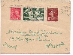 Lettre : Surtaxe Blessé Infirmière Croix-rouge + Semeuse + Mercure - Postmark Collection (Covers)