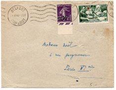 Lettre : Surtaxe Blessé Infirmière Croix-rouge + Semeuse - 1921-1960: Modern Period