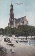 Amsterdam Westerkerk # 1907 Volk Paard+wagen Tram Op Brug