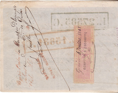 Suisse Mandat à Ordre De 1865 Avec Estampille 5 Centimes Rose Canton De Genève.N D .Complet Tb état. - Fiscaux