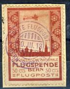 Svizzera Posta Aerea 1913 Precursori (Vorlaufer) N. III C. 50 Berna Usato Su Frammento Annullo Viola Dc Cat. € 220