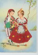 ENFANTS - LITTLE GIRL - Jolie Carte Fantaisie Brodée Enfants Espagnols VALENCIA - 1 - Embroidered