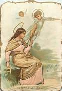 Ref N882- Chromo- Image Pieuse -religieuse -relief Gaufrée -vetements En Satin Soie -dorures - Jeanne D Arc - Bon Etat - - Images Religieuses