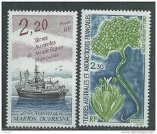 """T.A.A.F. N° 174 / 75  XX  """"Marion Dufresne"""" Et Flore Antarctique, Les 2 Valeurs Sans Charnière, TB"""