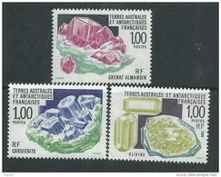 T.A.A.F. N° 173 + 185 + 195  XX Cristallisation Minérale, Les 3 Valeurs Sans Charnière, TB