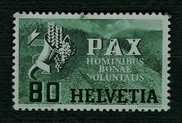 SVIZZERA 1945 - Pace - 80 C. Verde Oliva - Mi:CH 454 - 1843-1852 Poste Federali E Cantonali