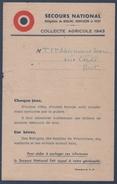 Bert.Secours National.Collecte Agricole 1943.Rationnement.Moulins,Montluçon,Vichy.