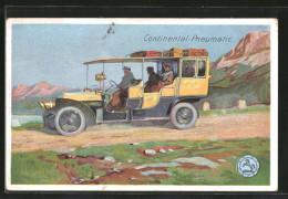 Lithographie Reisebus Auf Einer Bergstrasse, Reklame Continental-Pneumatic Reifen - Reclame