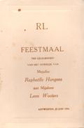 Menu - Feestmaal Huwelijk R. Hungens X Leon Wouters - Antwerpen 1934 - Menus