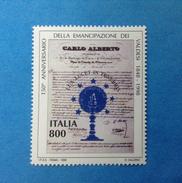 1998 ITALIA FRANCOBOLLO NUOVO STAMP NEW MNH** - EMANCIPAZIONE DEI VALDESI - - 1991-00:  Nuovi