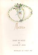 Menu - Diner Noce - Huwelijk Liliane & Jean - Bruxelles 1957 - Menus