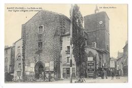 SAINT-FLOUR  (cpa 15)   La Halle Au Blé, Anct Eglise Collègiale (côté Ouest) -    - L 1 - Saint Flour