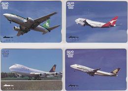 Lot De 4 Cartes Japon AVION LUFTHANSA Germany AIR LINGUS Ireland QANTAS Australia SINGAPORE Japan Airplane Quo Cards - Aerei