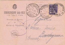 1945 Montecassino Sass. 509 Isolato Su Avviso Di Ricevimento - 4. 1944-45 Repubblica Sociale