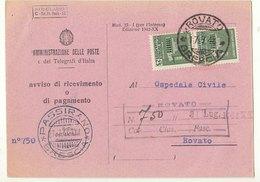 1944 Sass. 505 Striscia Di 2 Su Avviso Di Ricevimento - 4. 1944-45 Repubblica Sociale