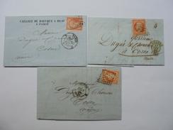 LOT DE TIMBRES NAPOLEON III DE 40 C NON DENTELE SUR LETTRE OBLITERATION  DES AMBULANTS D .ETC - 1862 Napoléon III