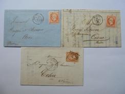 LOT DE TIMBRES NAPOLEON III DE 40 C NON DENTELES SUR LETTRE  OBLITERATIONS LETTRE DES AMBULANTS.3MEUG SUR LOIRE ETC - 1862 Napoléon III