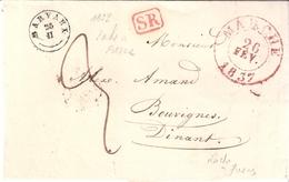 LETTRE EN PORT DÛ DATEE DE ROCHE A FRESNE LE 24 FEVRIER 1837 POUR BOUVIGNE CACHET BARVAUX 25/II TYPE 18 - 1830-1849 (Independent Belgium)