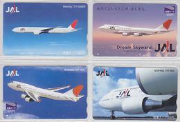 Lot De 4 Cartes Prépayées Japon - AVION JAL - AIRPLANE Japan Prepaid Cards - Flugzeug Aviation Airlines - 2133 - Avions