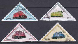 Kambodscha 1998, Mi-Nr. 1807#1810, Lokomotiven, Gestempelt, Siehe Scan - Kambodscha