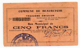 1914 - 1918 // BEAUREVOIR // Bon De 5 Francs - Bons & Nécessité
