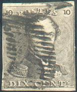 N°1 - Epaulette 10 Centimes Brun-gris, TB Margée, Obl. Légère  - 11594 - 1849 Epaulettes