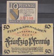 Baden-Baden 1919 Gutschein  Der Stadt Stadtkasse 10 Pf Und 50 Pf. Rs. Abb. Trinkhalle,  Und Ortsansicht, Gute  Erh. Not - Fiktive & Specimen