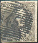 N°1 - Epaulette 10 Centimes Brun-foncé, TB Margée, Obl. P.45 GAND Centrale.  Pièce Du Concours Du 60ème Anniversaire De - 1849 Epaulettes