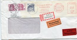 VR 236 Sarre Saar Lettre Exprès, Recommandé Avec Avis De Réception  Aff Mécanique + Timbres Saarbrucken 21.10.85 - Covers & Documents