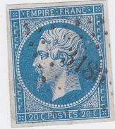 N° 14 Ac  Bleu Sur Azuré  -  PC  3186   STE-MARIE-AUX-MINES   /   HAUT-RHIN   - LOT 12118     INDICE 5 - 1853-1860 Napoléon III