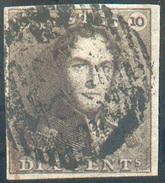 N°1 - Epaulette 10 Centimes Brun-SEPIA, TB Margée, Obl. P.23 BRUGGE .   - 11596 - 1849 Epaulettes