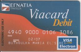 GREECE - EGNATIA Bank, Visa Electron, Used - Geldkarten (Ablauf Min. 10 Jahre)