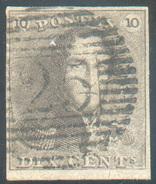 N°1 - Epaulette 10 Centimes Brun, TB Margée Et Petit Bord De Feuille Inférieur, Obl. P.25 CHARLEROI Centrale.  Splendide - 1849 Epaulettes