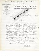 42 - Loire - L'HOPITAL-SOUS-ROCHEFORT - Facture JULIAT - Armes, Cycles, Quincaillerie - 1935 - REF 257 - France