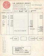 """42 SAINT BONNET LE CHATEAU St FACTURE 1962 La Boule OBUT Manufacture De Boules De Pétanque   """"Y88 - France"""