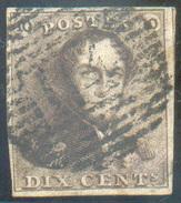 N°1 - Epaulette 10 Centimes Brune, TB Margée Et Obl. P.114 TERMONDE Finement Apposée - 11607 - 1849 Epaulettes
