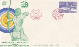 BOGENSCHIESSEN-ARCHERY-TIR A L´ARC-TIRO CON L´ARCO, INDONESIA, 1976, Special Stamp + Postmark !!